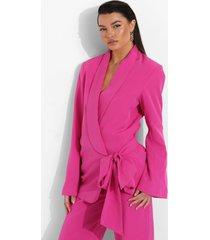 gedrapeerde getailleerde blazer met zijstrikjes, hot pink