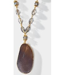 adele agate pendant necklace - gray