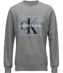 core monogram logo s sweat-shirt tröja grå calvin klein jeans