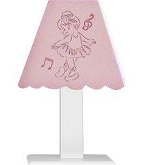 abajur bailarina mdf - rosa - bailarinas