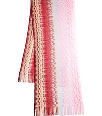 chevron-knit fringed scarf