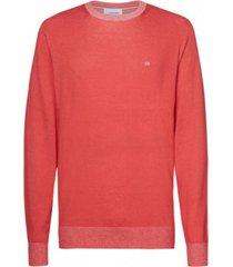 sweater cotton silk c-neck rojo calvin klein