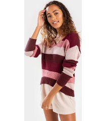 angey colorblock v- neck sweater - burgundy