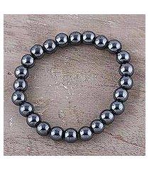 hematite beaded stretch bracelet, 'magical evening' (india)