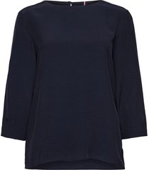 becca 3/4 slv blouse blus långärmad blå tommy hilfiger