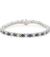 effy women's 14k white gold, blue & white sapphire tennis bracelet