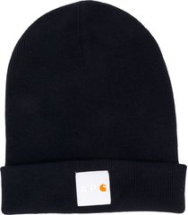 a.p.c. x carhartt wip ribbed-knit logo patch beanie - blue