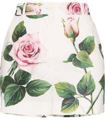dolce & gabbana rose print high-rise shorts - white