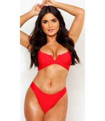 petite v-shape mix & match high leg bikini brief, red