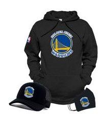 moletom canguru e boné preto com máscara time de basquete golden state warriors