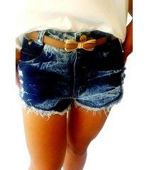 short 4 folhas jeans azul