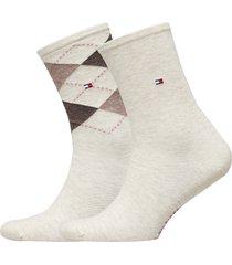 th women check sock 2p lingerie socks regular socks creme tommy hilfiger