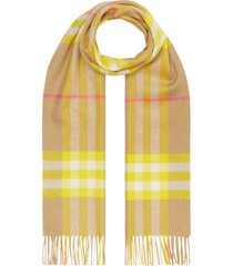 yellow check print cashmere scarf
