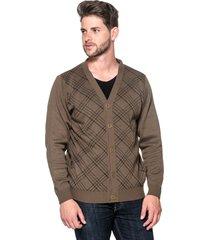 cardigan passion tricot xadrez brown - kanui