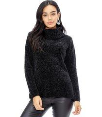 sweater chenille cuello alto negro corona