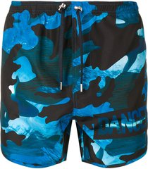 neil barrett dance camouflage print swim shorts - blue