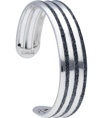 bracciale bangle in ottone rodiato e glitter antracite per donna