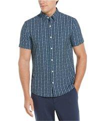 men's slim fit stretch line stripe short sleeve button-down shirt