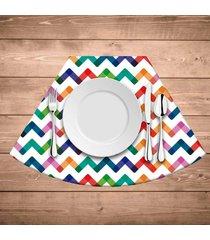 jogo americano para mesa redonda wevans listras coloridas kit com 6 pçs