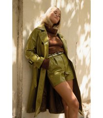 womens vinyl countdown high-waisted shorts - olive