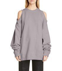 women's maison margiela oversize cold shoulder cotton sweatshirt, size medium - grey