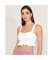 top cropped com babado alça média decote princesa off white