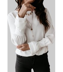 camicetta casual da donna con scollo tinta unita con maniche in corno
