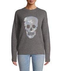 360 cashmere women's skull cashmere sweater - mist blue - size xs