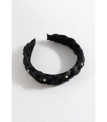 mona organza braided puffy headband - black