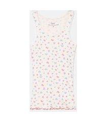 regata de pijama em ribana com estampa | lov | rosa | m