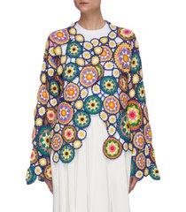 floral hand crochet asymmetric cardigan