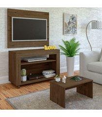 sala de estar completa para tv até 32 polegadas cristal amêndoa - artely