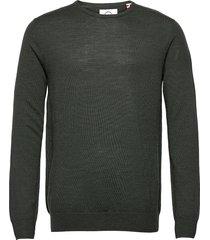 johs merino crew neck knit stickad tröja m. rund krage grön kronstadt