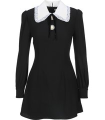 alessandra rich wool crepe mini dress with bow