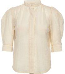 maya mesh soya blouses short-sleeved creme line of oslo