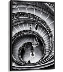 quadro 90x60cm arquitetura escadaria museu vaticano canvas moldura flutuante preta