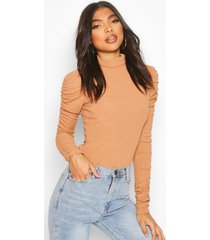 tall roll neck ruched sleeve rib sweater, camel