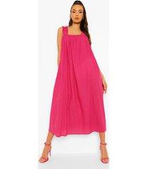 gerimpelde midaxi jurk met rug strik en bandjes, hot pink