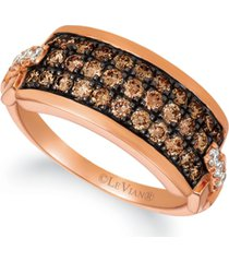 le vian chocolatier chocolate diamond (5/8 ct. t.w.) and vanilla diamond (1/10 ct. t.w.) horizontal cluster ring in 14k rose gold