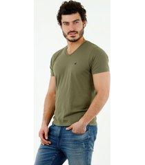 camiseta de hombre, cuello en v, manga corta, color verde