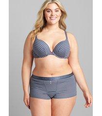 lane bryant women's cotton boost plunge bra 46c stripe grisaille