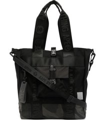 aape by *a bathing ape® camouflage panelled shoulder bag - black