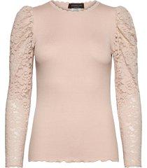 silk t-shirt regular ls w/ lace blus långärmad rosa rosemunde