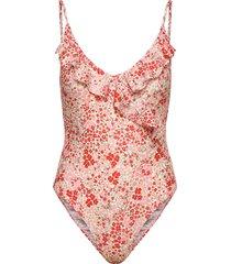 flofield frill swimsuit baddräkt badkläder röd becksöndergaard