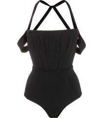 diesel off shoulder bodysuit - black