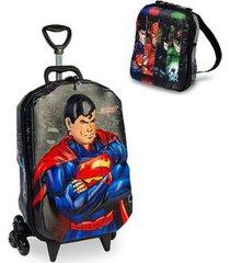 kit mochila liga da justiça superman 3d com rodinhas+ lancheira maxtoy