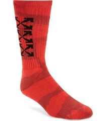 men's off-white tie dye mid length tube socks, size one size - red