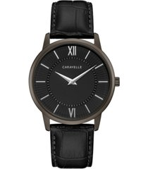 caravelle men's black leather strap watch 39mm