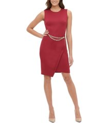 tommy hilfiger petite chain-belt sheath dress