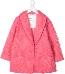 caroline bosmans tulle-overlay single-breasted jacket - pink